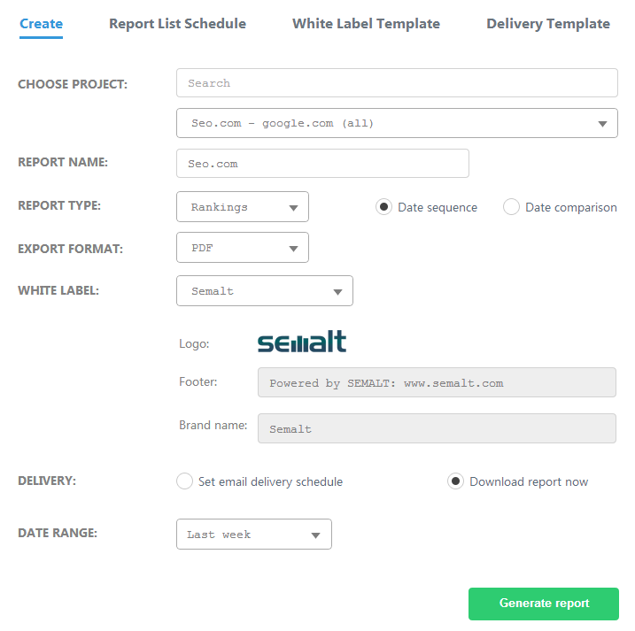 How to create report Report center Semalt Help Semalt review